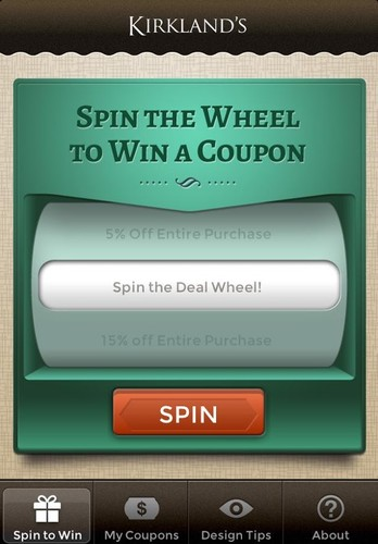 Free Kirklands Spin to Win cell phone app