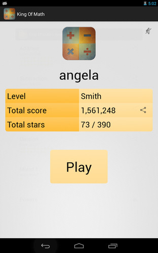 Free King of Math cell phone app