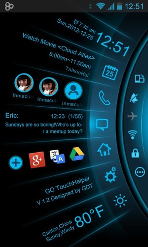 Free Blue Light Toucher Theme GO cell phone app