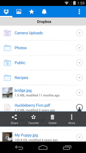 Free Dropbox cell phone app