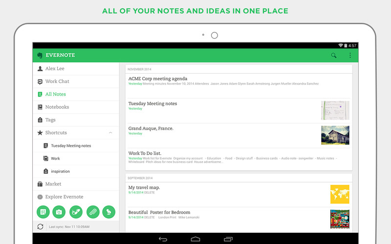 Free Evernote cell phone app