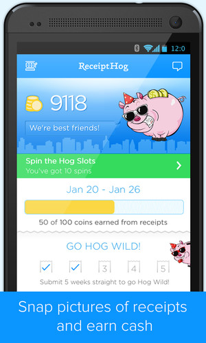 Free Receipt Hog - Receipts to Cash cell phone app