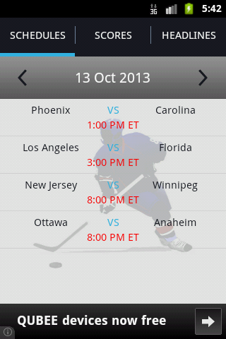 Free Live NHL Scores cell phone app