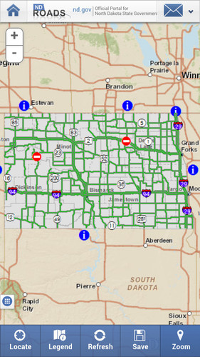 Free ND Roads (North Dakota Travel) cell phone app