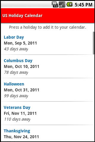 US Holiday Calendar screenshot 2