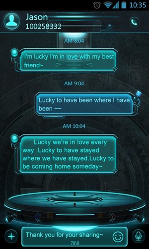 Free GO SMS PRO TECHNOLOGY THEME EX cell phone app