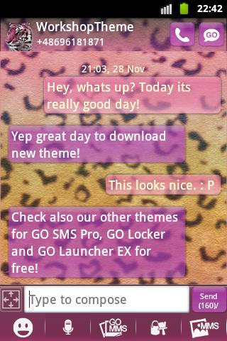 Free GO SMS Theme Panther cell phone app