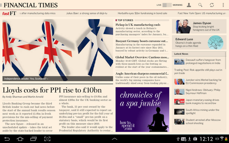 Free Financial Times cell phone app