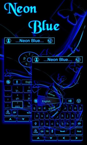 Free Neon Blue GO Keyboard Theme cell phone app