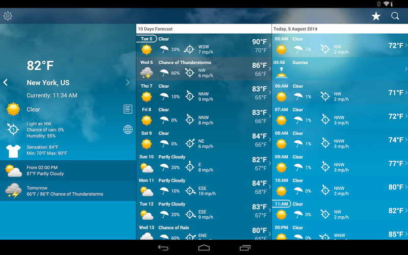 Free Weather XL cell phone app