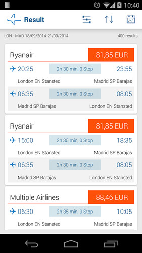 Bravofly: flights search screenshot 2
