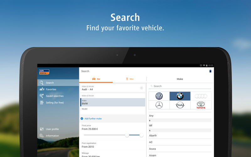 Free AutoScout24 - used car finder cell phone app