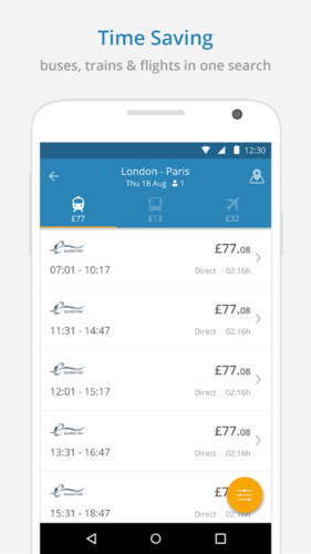Free GoEuro: trains, buses, flights cell phone app