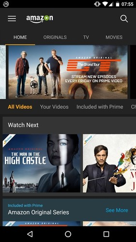 Free Amazon Prime Video cell phone app