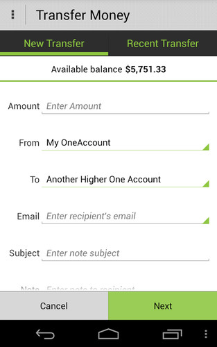 Higher One Mobile Banking App screenshot 5