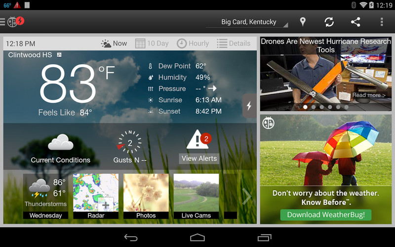 Free WeatherBug cell phone app