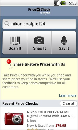 Free Price Check by Amazon cell phone app