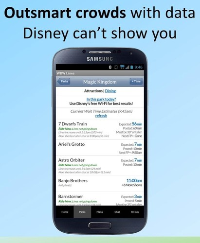Free Disney World Lines cell phone app