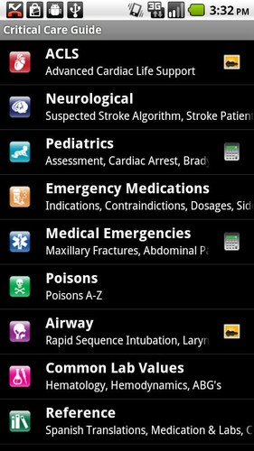 Free Critical Care ACLS Guide cell phone app