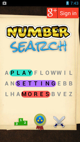 Free Number Search Challenge cell phone game