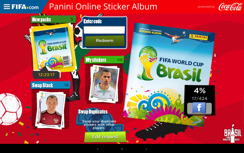 Free Panini Online Sticker Album cell phone game